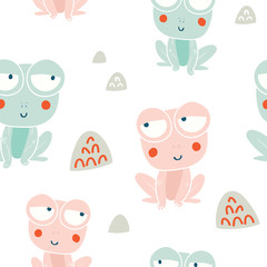 Cute frogs characters seamless pattern
