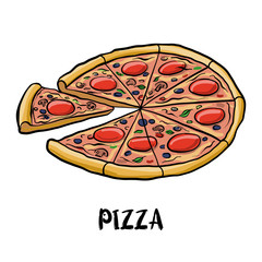vector drawing pizza