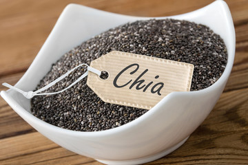 Chia seeds and label