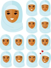 Set of different avatar arab people in colorful flat style.