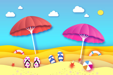 Red and pink parasol - umbrella in paper cut style. Origami sea and beach with lifebuoy. Sport ball game. Clouds. Flipflops shoes. Vacation and travel concept.