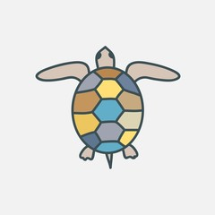 Figure of a turtle. Can be used as an icon or an emblem. Vector illustration.