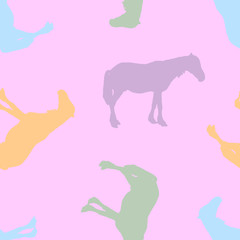 Seamless pattern. Silhouette of a horse.