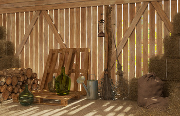 The interior of the old rural barn with bales of hay, firewood, tools for work. Rays of light through the cracks inside. 3D visualization.