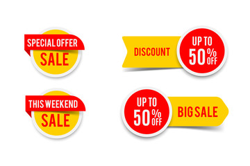 Sale round banner set, circle special offer tag collection. Hot deal 50% off badge template, this weekend only sale icon