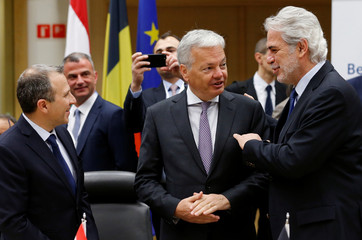 Lebanese FM Bassil, Belgian counterpart Reynders and EU Commissioner Stylianides attend International Conference on the Victims of Ethnic and Religious Violence in the Middle East, in Brussels