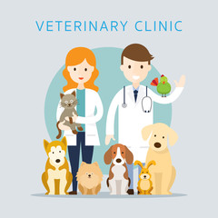 Male & Female Veterinarian with Pets, Group of Animals, Clinic or Hospital