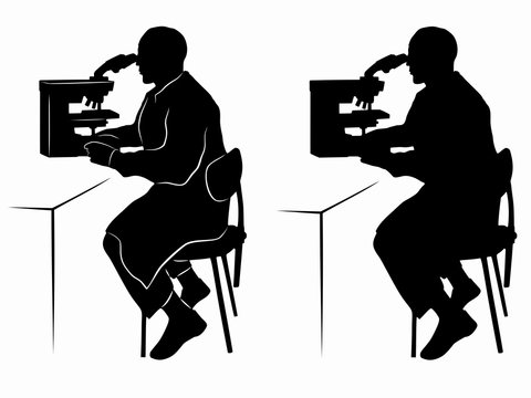 silhouette of a scientist with microscope , vector draw