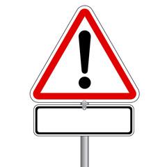 Verkehrsschild - Achtung Gefahrenstelle ohne Text. Vektor Eps10.