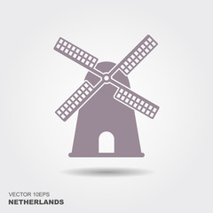 Windmill icon silhouette vector illustration