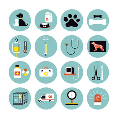 Veterinary Flat Icons Set, Clinic or Hospitals, Pets, Cats & Dogs