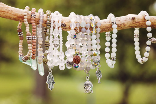 Natural bead bracelets hanging on natural branch