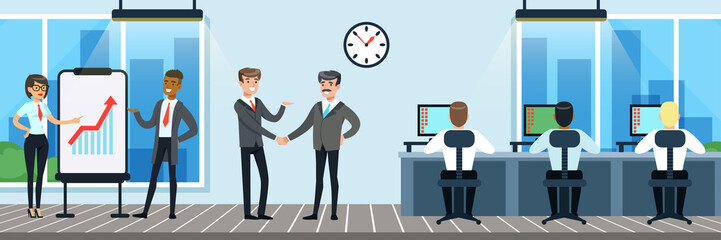 People working in the office, workers sitting at desks working on the computer, business meeting, presentation , vector Illustration in flat style