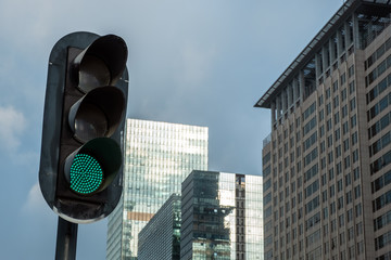 Green light signal in city