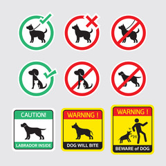 Dogs Symbols Signs, Allowed and Prohibited, Warning, Caution