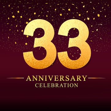 33 years anniversary. celebration logotype 33rd years.Logo with golden and on dark pink background, vector design for invitation card, greeting card.