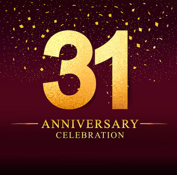 31 years anniversary. celebration logotype 31st years.Logo with golden and on dark pink background, vector design for invitation card, greeting card.