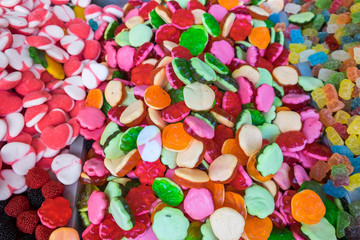 Gummy colorful candies for sale at local city market