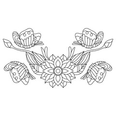 Hand drawn butterflies With flowers for the anti stress coloring page. Design elements label, emblem, poster, t-shirt. Vector illustration