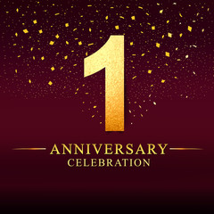 1 year anniversary. celebration logotype 1st years.Logo with golden and on dark pink background, vector design for invitation card, greeting card.