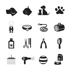 Pets Grooming Shop Icons, Black and White, Silhouette Set