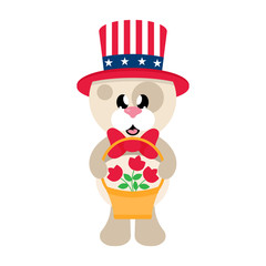 4 july cartoon cute dog in hat with basket and flowers