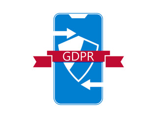 General data protection regulation, abbreviation: DSGVO. Protection of natural persons with regard to the processing of personal data. Smartphone and ribbon. Vector illustration