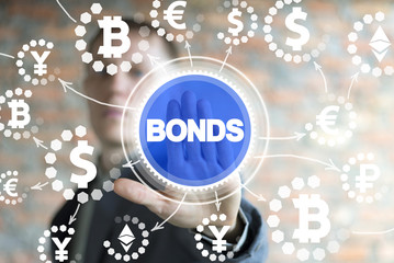 Businessman clicks a bonds word surrounded by specific financial icons.