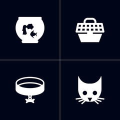 Set of 4 pets icons set. Collection of head, aquarium, carries and other elements.