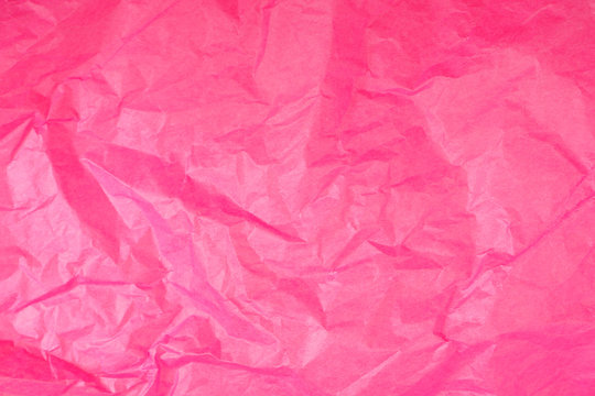 Abstract Bright Pink Crumpled Tissue Paper Texture Background