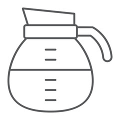 Coffee pot thin line icon, coffee and cafe, drink sign vector graphics, a linear pattern on a white background, eps 10.