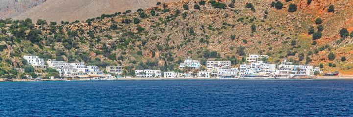 Wall Mural - Scenic village of Loutro and the mediterranean sea  in Crete, Greece