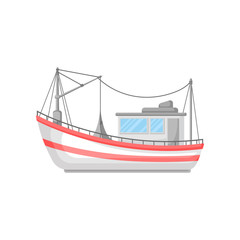 Colorful flat vector design of fishing boat with trawl net and ropes. Commercial marine vessel