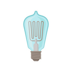 Glass light bulb. Incandescent lamp for lighting equipment. Electricity theme. Flat vector element for infographic, promo poster or banner