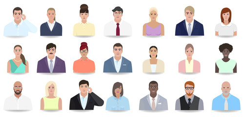 Business portraits of modern people, vector