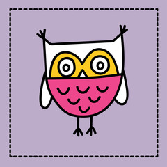Cute owl doodle illustration