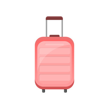 Flat vector icon of pink plastic suitcase on wheels. Traveler bag with telescopic handle. Object related to vacation theme
