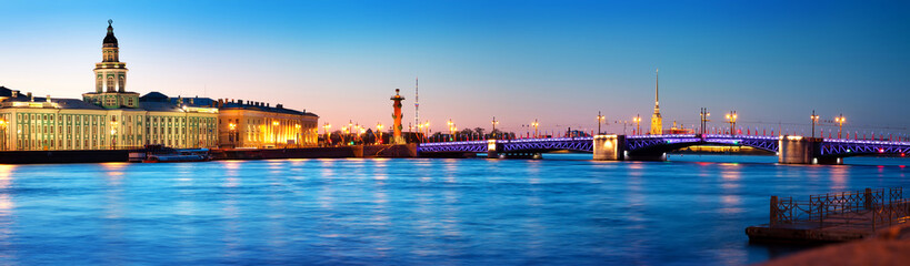 Aluminium Prints Historical buildings View ti Saint Peterburg at night. City panorama after sunset with beautiful illumination