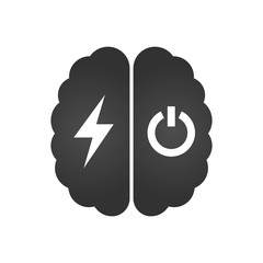 Brain with lightning or charging and turn off icon , simple vector illustration isolated on white background.