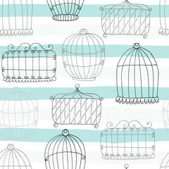 Seamless pattern with Hand drawn Birdcage. Vector Print