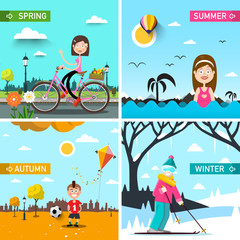 Four Seasons Vector Landscapes with People. Spring, Summer, Autumn and Winter Scenes.