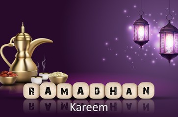 Ramadan Kareem background. Iftar party with traditional coffee pot, dried dates and lanterns hanging in a purple glowing background