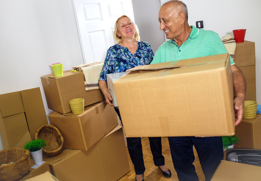 Happy senior couple moving into their new home.
