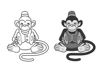 vector illustration of cartoon monkey with cymbals.In two variants:grayscale and only contour. Can be used for coloring books.