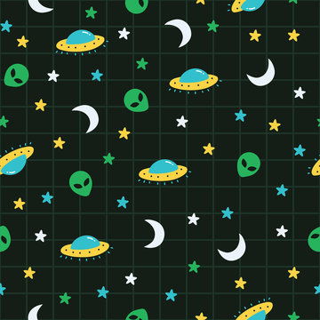 Alien, ufo, moon, star outer space pattern. A playful, modern, and flexible pattern for brand who has cute and fun style. Repeated pattern. Happy, bright, and magical mood.