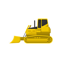 Flat vector icon of yellow bulldozer. Powerful tractor with broad upright blade at front. Heavy motor machine