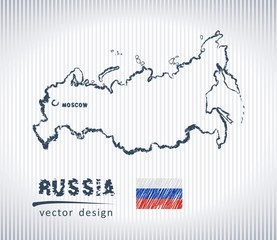 Russia vector chalk drawing map isolated on a white background