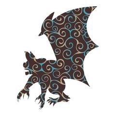 Gargoyle Chimera pattern silhouette ancient mythology fantasy