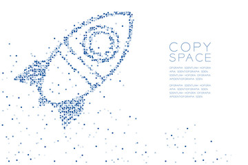 Abstract Geometric Square box pattern Cartoon Rocket spaceship shape, space exploration concept design blue color illustration on white background with copy space, vector eps 10