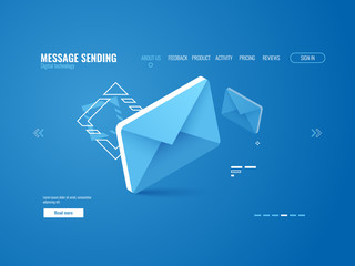 Message icon, email sending concept, online advertising, web page template isometric